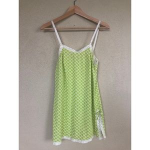 VINTAGE green check night gown nightie sleep dress